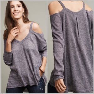 Anthropologie Cold Shoulder Knot Top